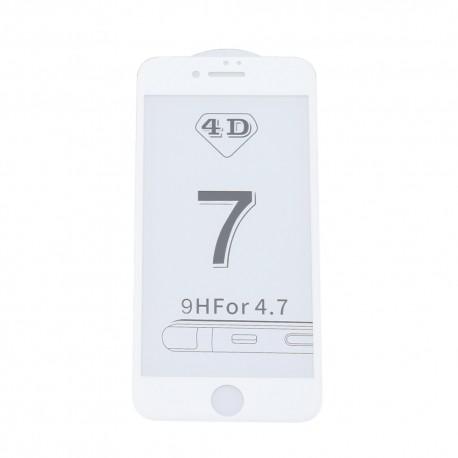 4D Tvrzené sklo pro Apple iPhone 7 - bílé