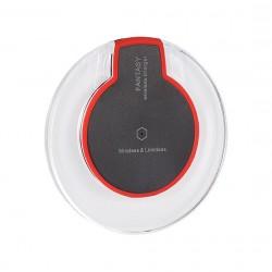 Nabíječka indukční bezdrátová QI LED podsvícení - červená