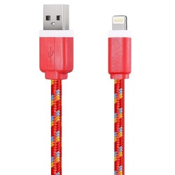 Nylonový odolný kabel Lightning červený 1m