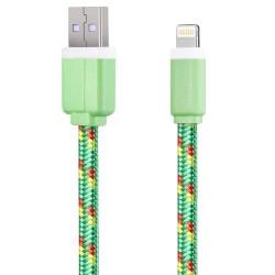 Nylonový odolný kabel Lightning zelený 1m