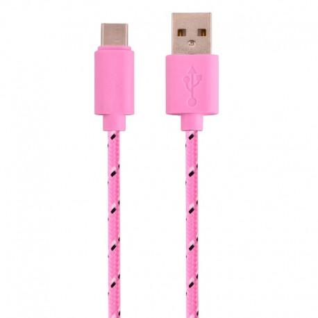 Nylonový odolný kabel USB-C růžový 1m
