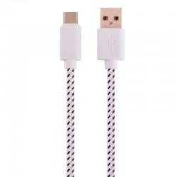 Nylonový odolný kabel USB-C bílý 1m