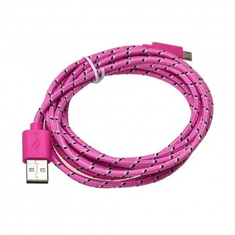 Nylonový odolný kabel Micro USB růžový 1m