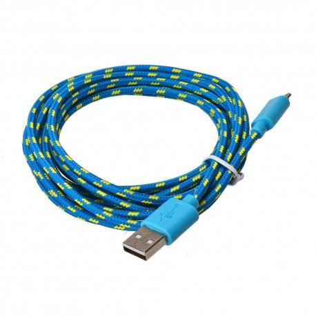 Nylonový odolný kabel Micro USB modrý 1m