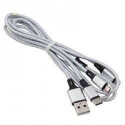 Kabel 3v1 Micro USB, USB-C, lightning - stříbrný 1,2m