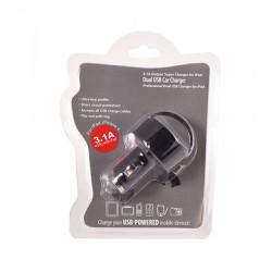 Auto nabíječka do zapalovače - 2x USB výstup, 3,1A - černá