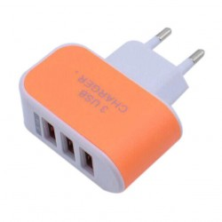 Nabíječka 3 USB porty (3.1A) - oranžová