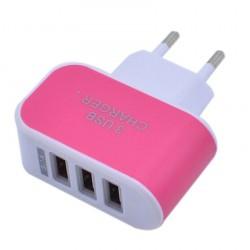 Nabíječka 3 USB porty (3.1A) - růžová