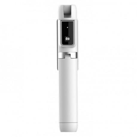 Selfie tyč mini s odnímatelným dálkovým ovládáním Bluetooth a stativem - bílá