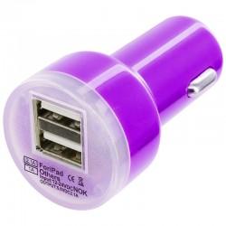 Universální duální USB autonabíječka s přepěťovou ochranou - fialová