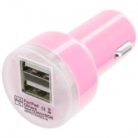 Universální duální USB autonabíječka s přepěťovou ochranou - růžová