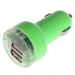 Duální USB autonabíječka - zelená