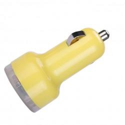 Universální duální USB autonabíječka s přepěťovou ochranou - žlutá