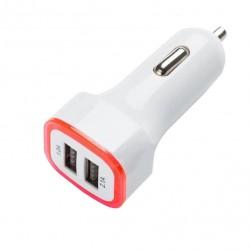 USB duální auto nabíječka červená