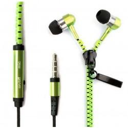 Zipová sluchátka zelené