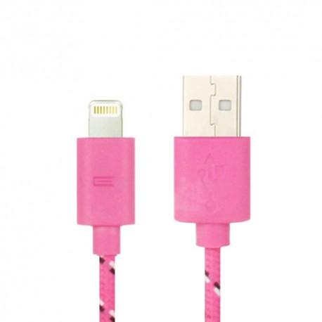 Nylonový odolný kabel Lightning růžový 1m
