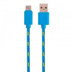 Nylonový odolný kabel USB-C modrý 1m