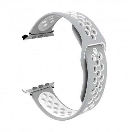 Sportovní řemínek na hodinky Apple Watch 42mm - šedo/bílý